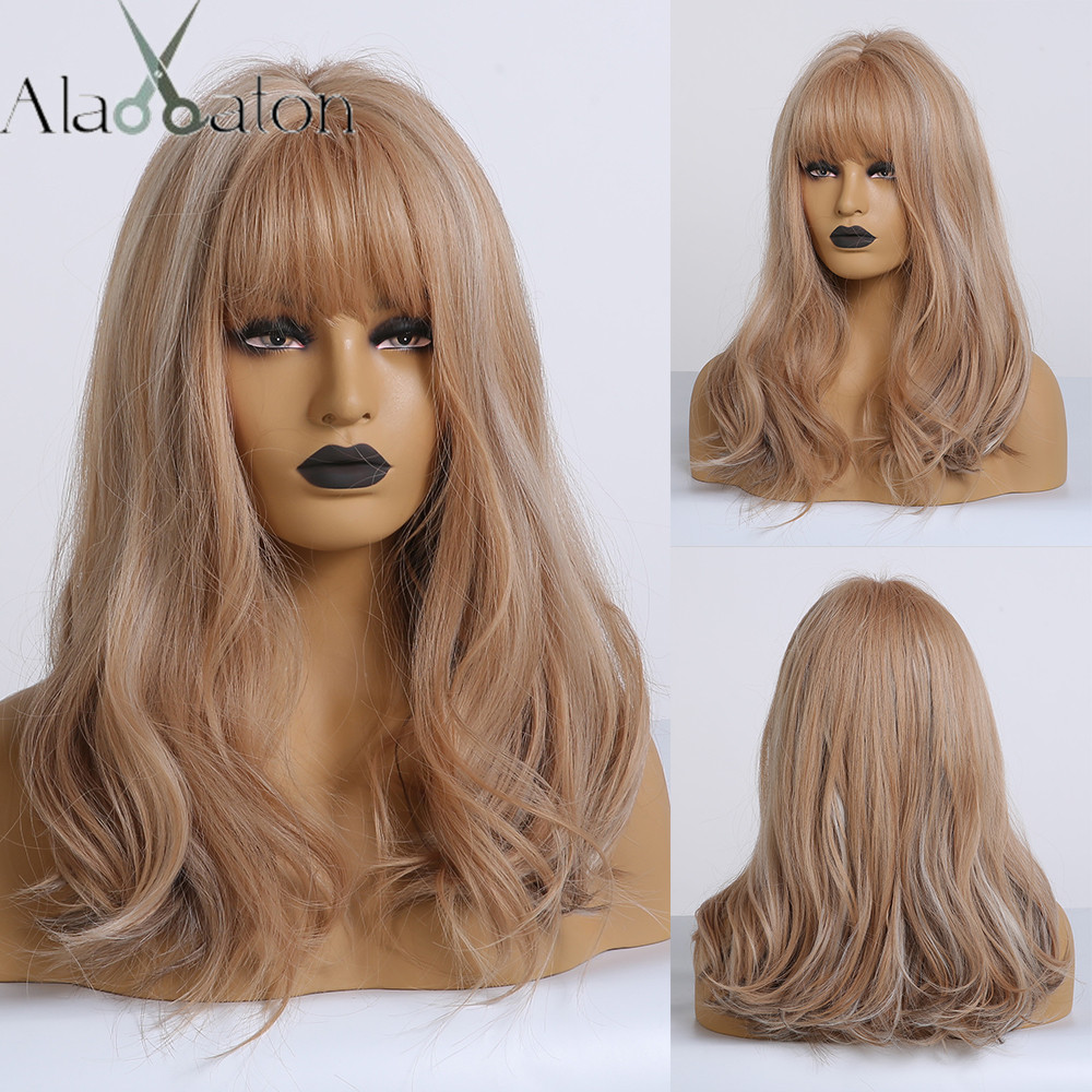 ALAN EATON Brown Mix Blonde Ash Wig With Bangs Natural Wave Wigs For Women Midium Bob Synthetic Hair Wigs Lolita Cosplay Wigs