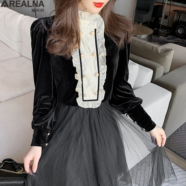 New Spring Vintage Blouse Women Long Sleeve Double Breasted Shirt Velvet Tops Stand Collar Ruffles Patchwork Sweet Blouses 2