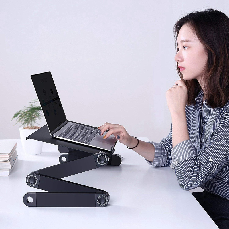 Support d'ordinateur Portable pour lit et canapé bureau confortable table ajustable pour d'ordinateur Portable Portable debout/assis avec 2 ventilateurs de refroidissement Cpu et Mous