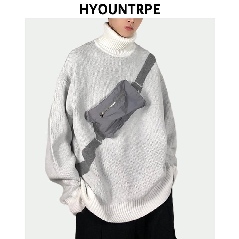 Men Turtleneck Sweater Pullover Autumn Winter Warm Sweater Front Reflective Bag Casual Sweater Hip Hop Loose Knitwear Streetwear