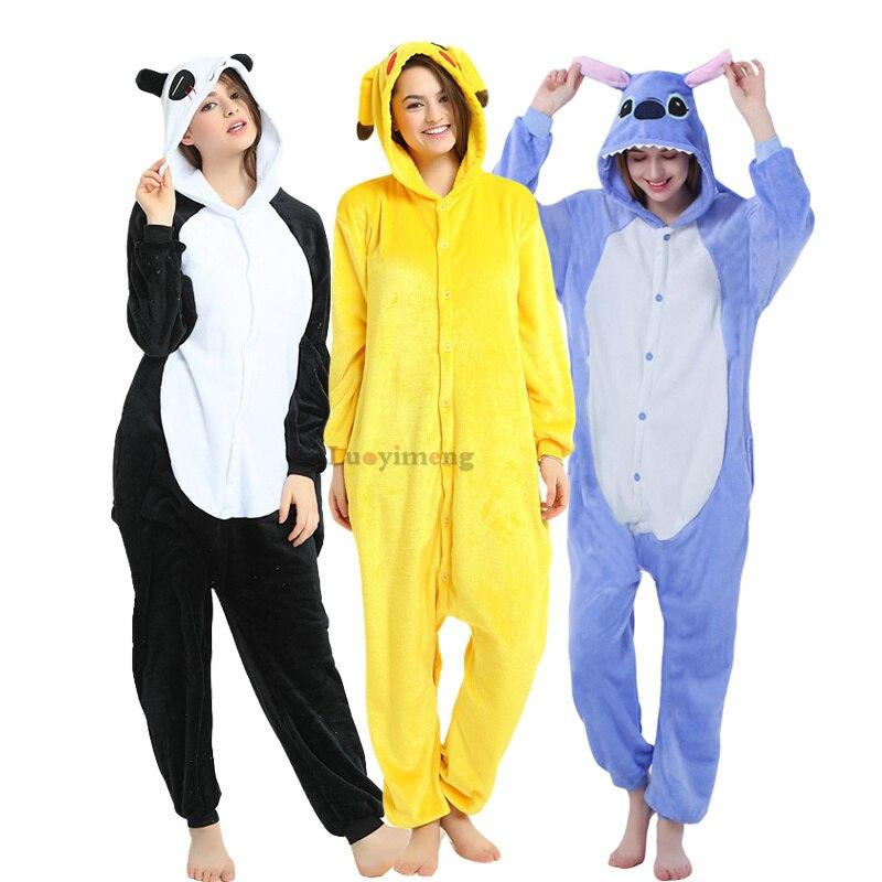Adults Animal Unicorn Pajamas Cartoon Stitch Panda Kugurumi Women Men Costume Winter Unisex Flannel Overalls Unicornio Sleepwear