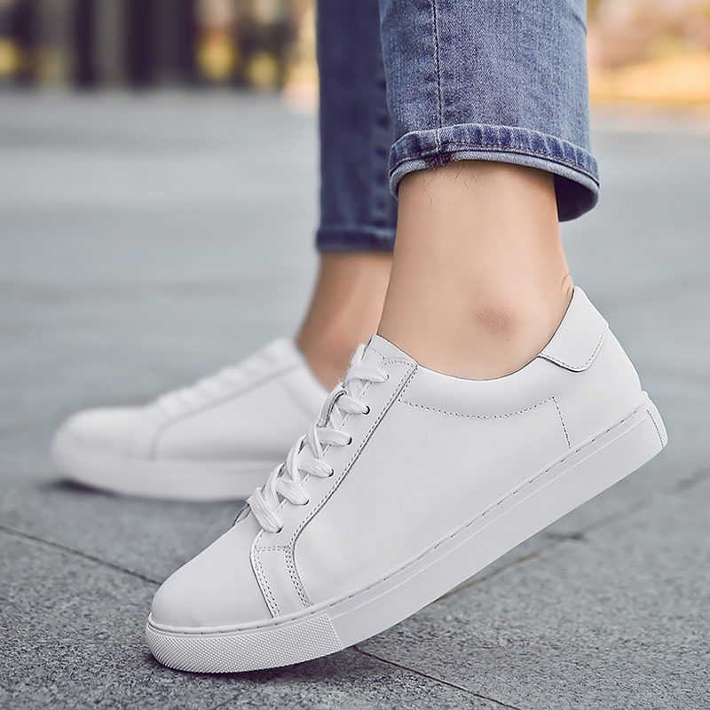 White Women's Sneakers 2020 Genuine Leather Big Size 43-44 Lace Up Solid Casual Tenis Feminino Shoes Couple Elegant Walking Shoe