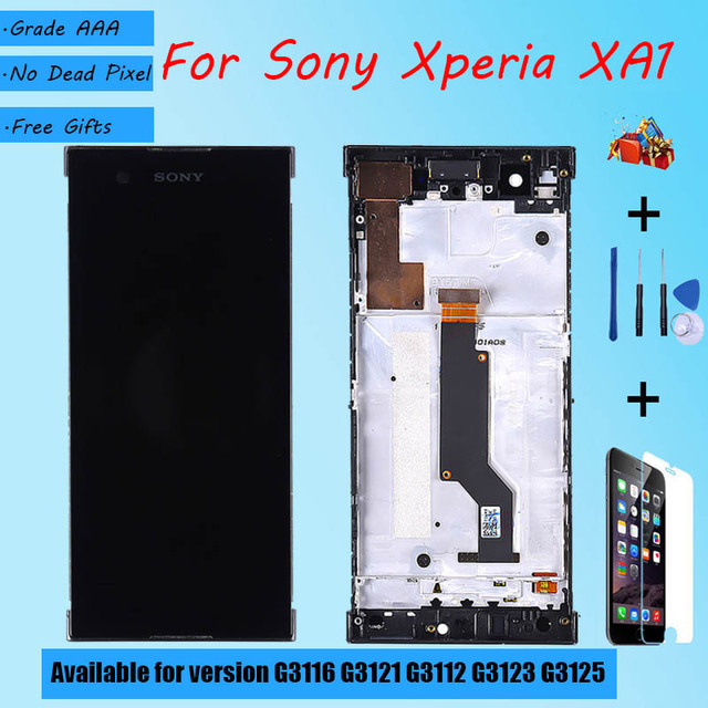 For Sony Xperia XA1 G3116 G3121 G3112 G3123 G3125 LCD screen assembly with front case touch glass,With repair parts LCD Display