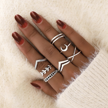 docona Leaf Moon Crescent Rings for Women Antique Punk Knuckle Midi Rings Set Vintage Anillos  Jewelry Accessories 7pcs/set 9893 2