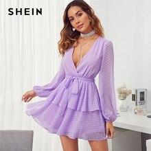 SHEIN สีม่วงลึก V คอคู่ชั้น Hem Swiss Dot ชุดผู้หญิง 2019 ฤดูใบไม้ร่วงบิชอปเซ็กซี่สุภาพสตรี Belted สั้นชุด