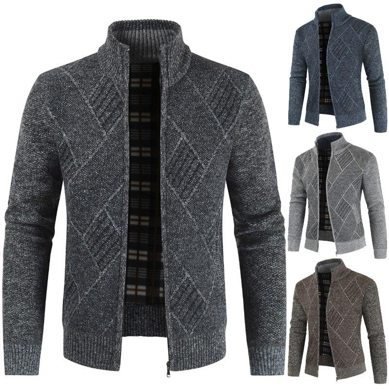 MJARTORIA 2020 Mens Cardigan Sweater Autumn Stand Collar Zipper Knitted Casual Sweatercoat Coats Men Warm Clothes Fleece Knit