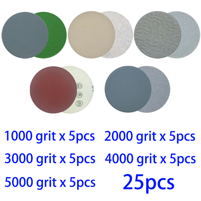25pcs/set Hook And Loop 3 Inch 1000 2000 3000 4000 5000 Grit Sand Paper Sanding Discs New Arrivals