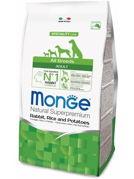 Monge Dog Speciality Rabbit Adult Dogs Of All Breeds, 12 Kg