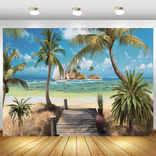 Laeacco Tropical Palms Tree Sea Beach Island Ship Cloudy Natural Scenic Photographic Background Photo Backdrops For Photo Studio