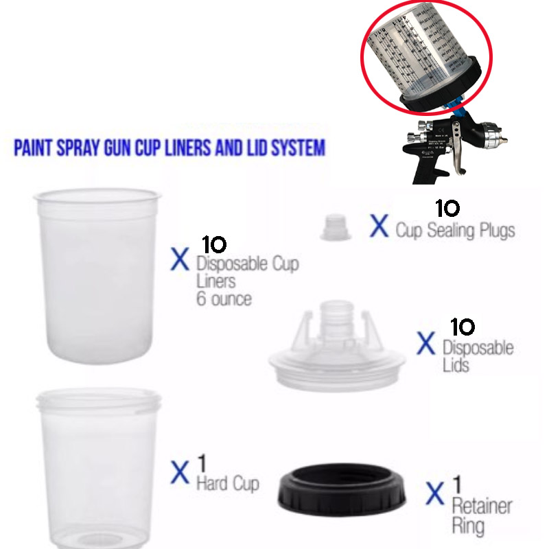 Free Shipping Spray Gun Cup Liners And Lid System  PPS Type H/O Quick Cup, Mixing Cups And Collars Set 600ml(20.3oz)