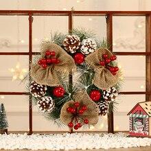 Рождественский венок ручной работы, подвеска из ротанга, Рождественская гирлянда, украшение для двери в торговую марку, Рождественская елк...