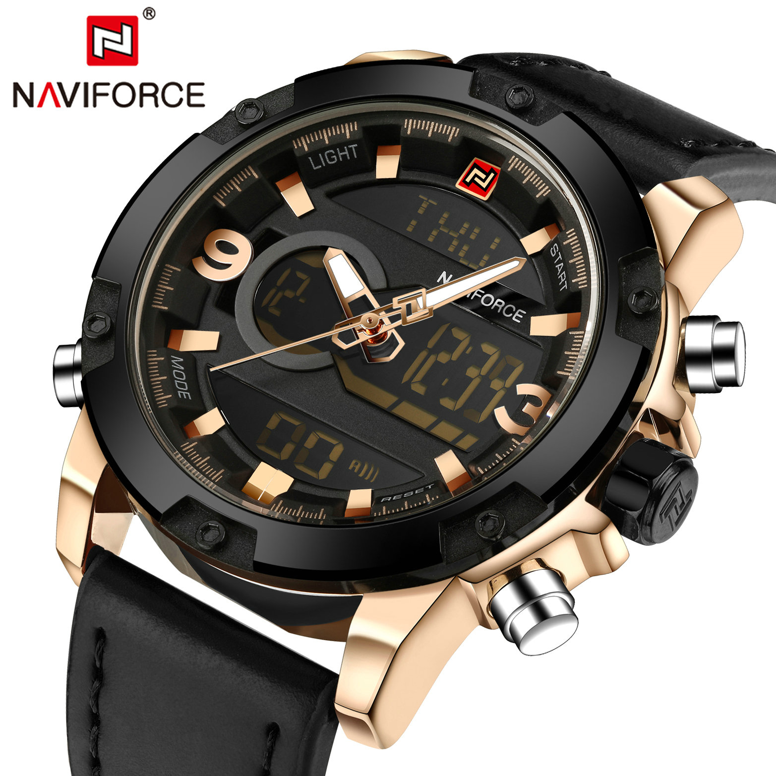NAVIFORCE Sports Quartz Mens Watches Top Brand Luxury Clock Dual Time Analog Digital Watch Men Military Waterproof Wristwatches