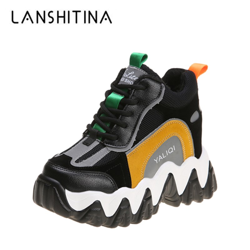 Women High Platform Sneakers Women's Chunky Casual Shoes 10CM Wedge Heels Vulcanize Shoes Trainers Warm Fur Winter Sneaker Woman