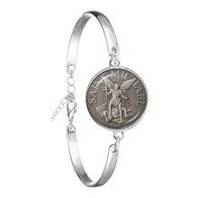 Pulseira de moda arcanjo st. michael proteger-me saint escudo proteção charme russo orhodox pulseira jóias para o presente sagrado