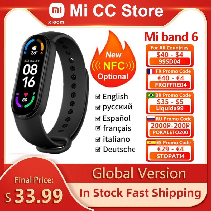 Фитнес-браслет Xiaomi Mi Band 6 с AMOLED экраном, мониторинг пульса и содержания кислорода в крови, водонепроницаемый 1