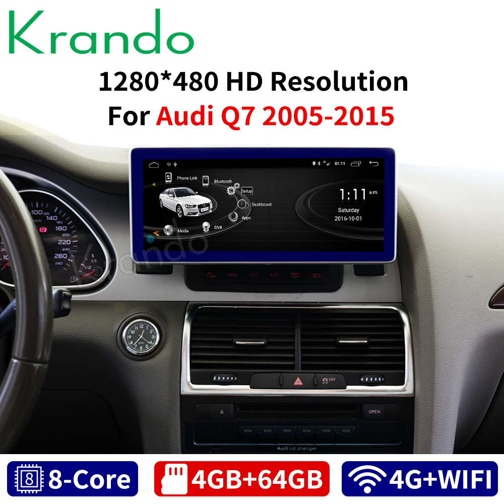 Krando Android 8.1 10.25 inch 8 Core 4GB+64GB for Audi Q7 2005 2006 2007-2015 car radio audio GPS navigation multimedia player