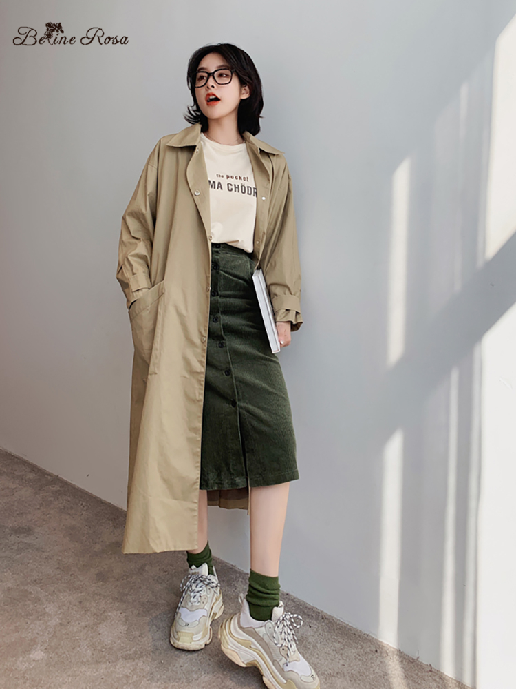 BelineRosa Minimalist Style Pure Color Women's   Trench   Casual Khakki Color Big Pocket Loose Oversized Coats Autumn TYFS0011