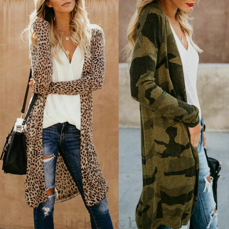 Womens Leopard Camouflage Kimono Cardigan Open Front Boho Camo Long Sleeve Long Maxi Jacket