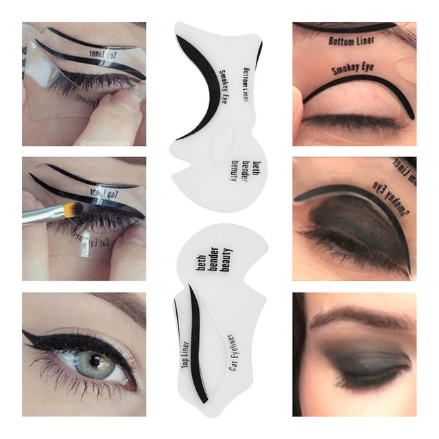 10PCS Pro Eyeliner Eye Shadow Stencils Winged Eyeliner Stencil Models Template Shaping Tools Eyebrows Template Card Makeup Tool 5