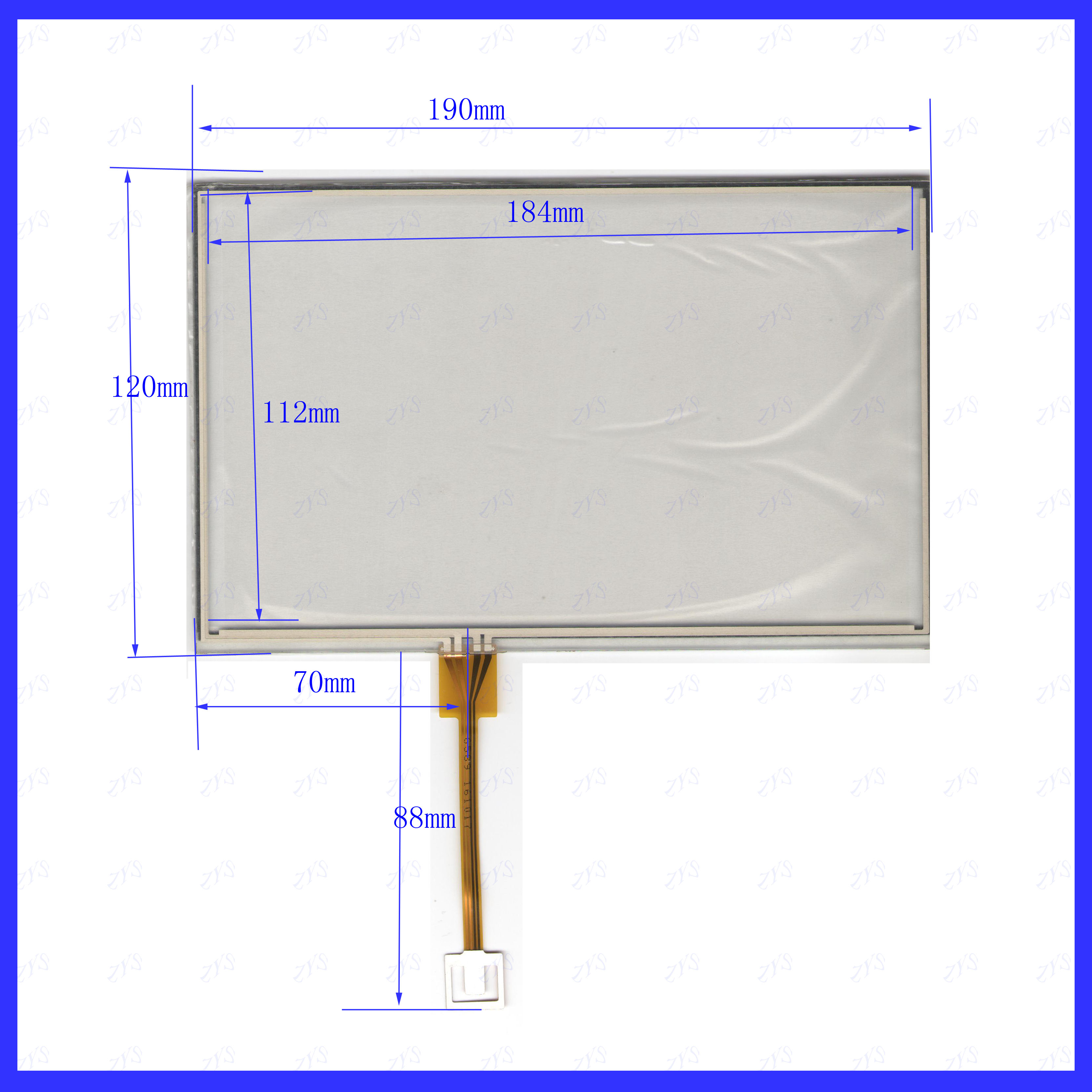 ZhiYuSun KDT-6589 190mm*120mm  8 Inch 4-wire Resistive Touch Panel For Car DVD, 190*120 GPS Navigator Screen  Glass KDT6589