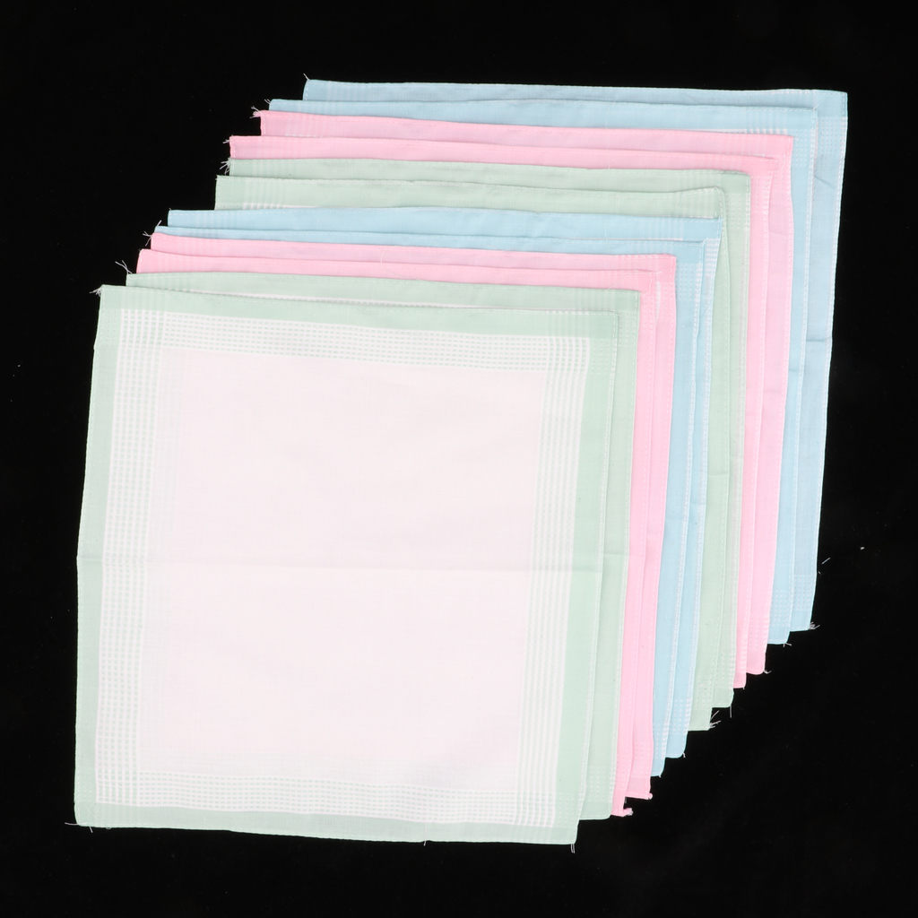 12X Men Cotton Pocket Square Plaid Pattern Hanky Wedding Party Handkerchief