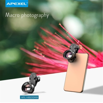 APEXEL HD Optic 100mm Macro Lens Camera Phone Lens 10x Super Macro Lenses for iPhonex xs max Samsung Xiaomi huawei Cellphone