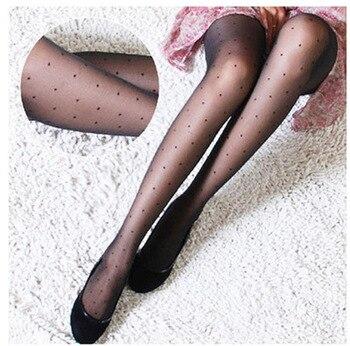 Women's Tights Classic Small Polka Dot Silk Stockings.Thin Lady Vintage Faux Tattoo Stockings Pantyhose Female Hosiery