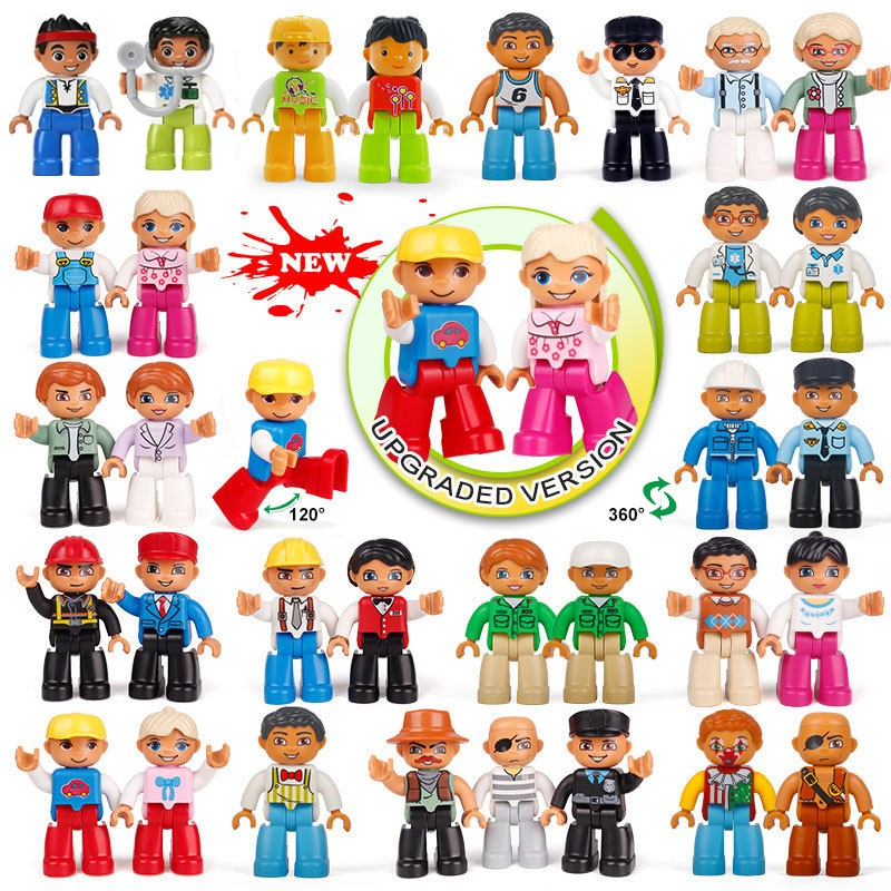 LEGOs Duplos Figures Building Blocks Action Figures Family Series Worker Police Bricks Compatible Legoing Duplos Blocks Kids Toy