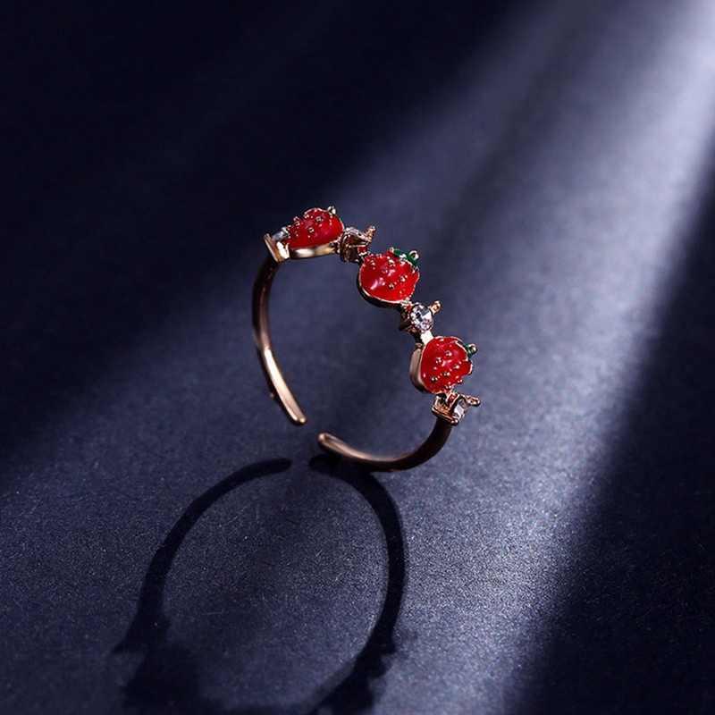 ใหม่น่ารักหวานสตรอเบอร์รี่สีแดงแหวน Rhinestone เปิดนิ้วมือแหวนแฟชั่นสำหรับสาวเครื่องประดับอุปกรณ์เสริม