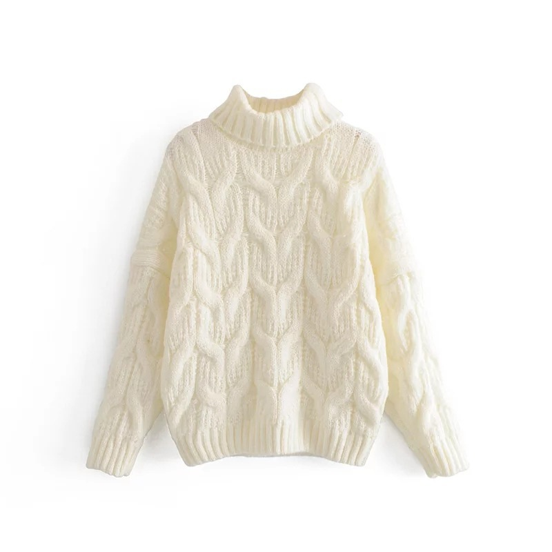Chic Womens High Collar Loose Wool Blend Sweater Pullover Girls Winter Blouse