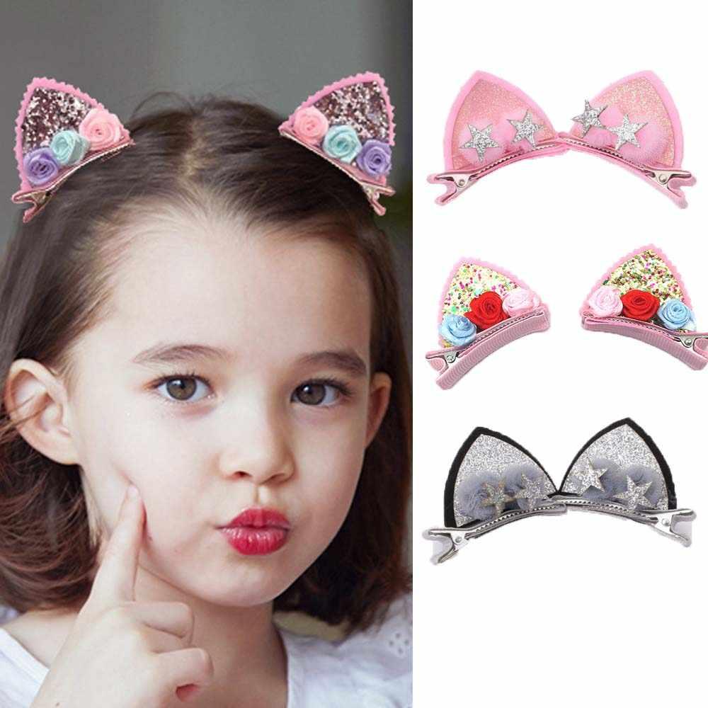 Barrettes  Rainbow Flowers Hairpins  Kids Hair Accessories Cute Hair Clips