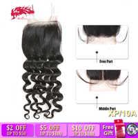Ali Queen Extra Pro. Ratio Brazilian Virgin Hair Natural Wave Lace Closure 4x4 Natural Color Free Part/Middle Part Lace Closure