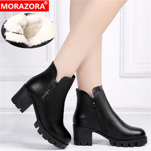 Image 1 - MORAZORA 2020 genuine leather shoes high heels platform boots women keep warm crystal classic ankle boots for women black