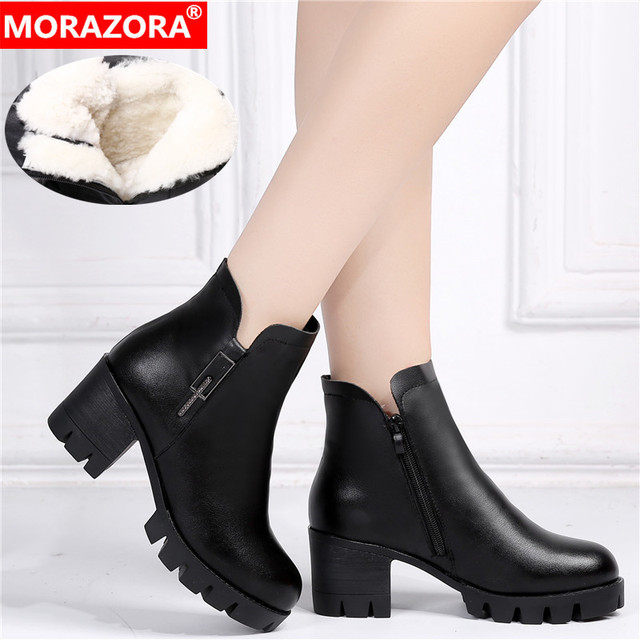 MORAZORA 2020 genuine leather shoes high heels platform boots women keep warm crystal classic ankle boots for women black