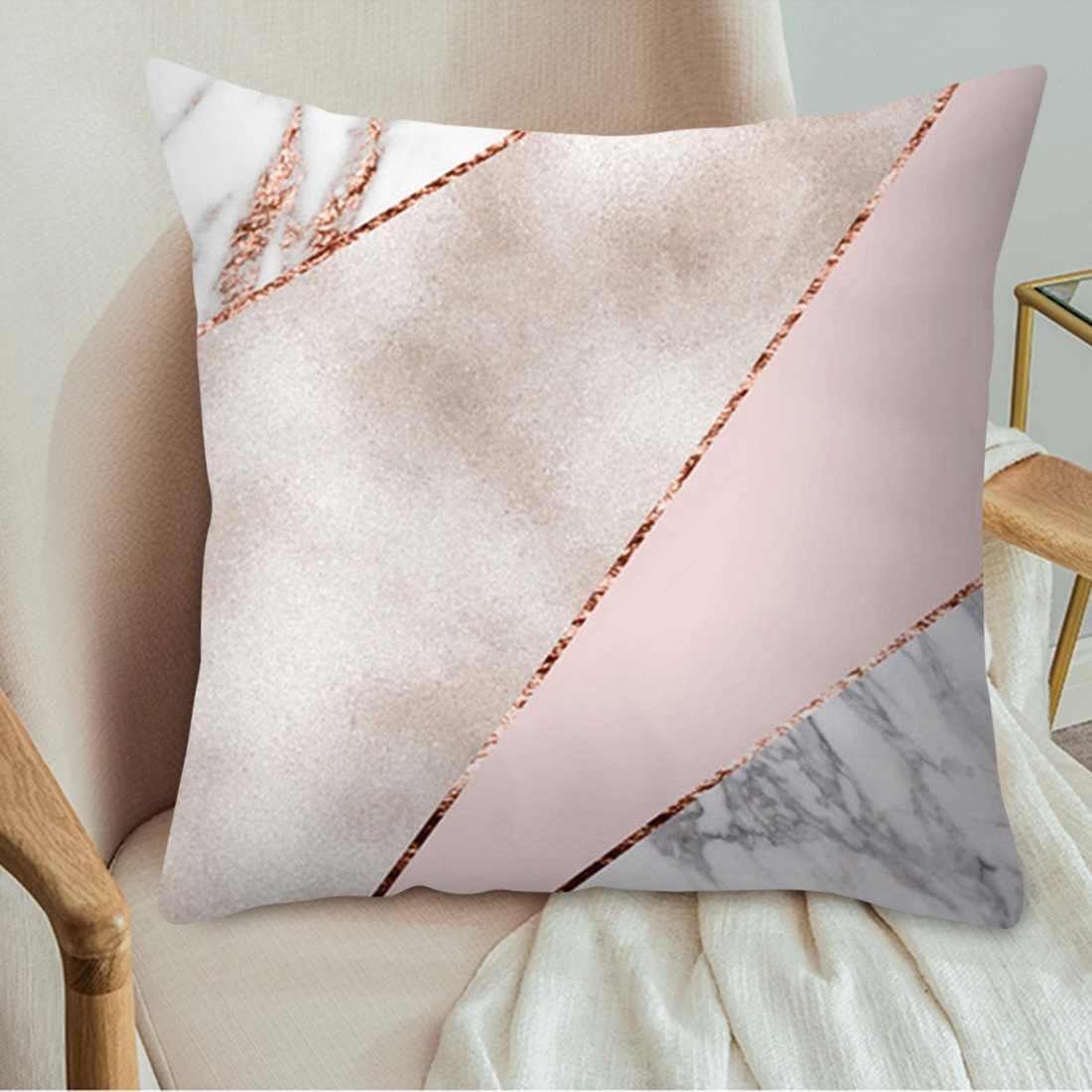 Różowe złoto kwadratowa poszewka na poduszkę geometryczna zjawiskowa poszewka na poduszkę rzut poliestrowy poszewka na poduszkę do wystroju domu 45x45cm