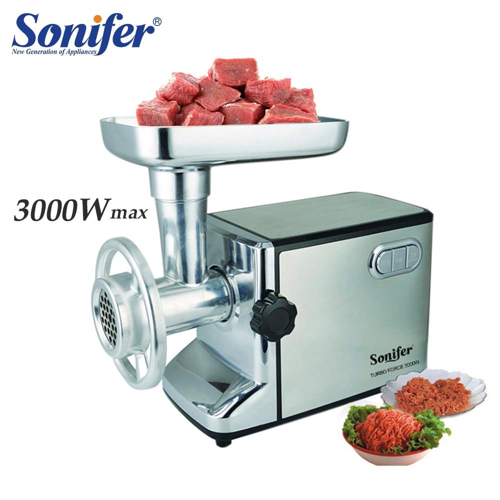3000 w moedores de carne elétrica poderosa picador de carne de aço inoxidável corpo resistente casa picar sonifer