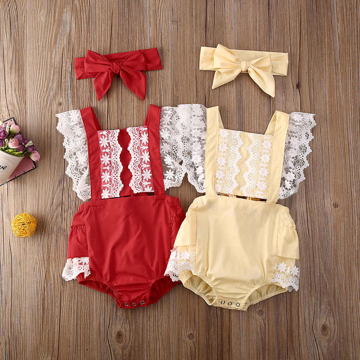 Summer Newborn Infant Baby Girl Clothes Lace Jumpsuit Bodysuit+Headband Outfit Casual Sunsuit