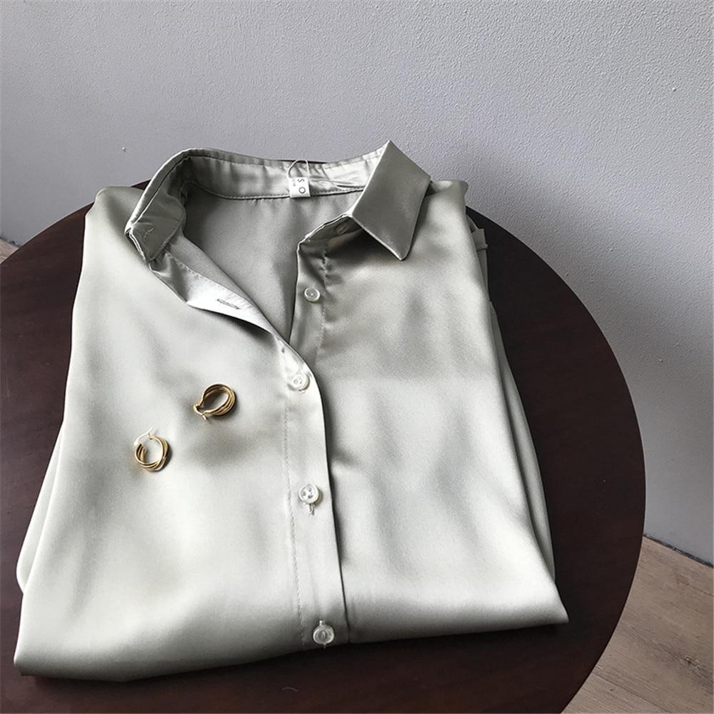 High quality Women Silk Satin Blouse 2020 Summer Women Satin Blouses Shirt Office Long Sleeves Femme V Neck Loose Street Shirts (82)