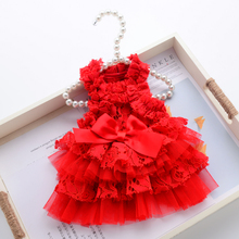 Lace Pet Dress Small Dog Clothes Princess Cat Party Wedding Tutu Skirt Puffy Sleeves Yorkshire Terrier Clothing