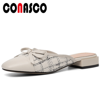 CONASCO Sweet Casual Genuine Leather Summer Women Sandals Slippers Pumps Mules Butterfly-Knot Gingham Thick Heels Shoes Woman