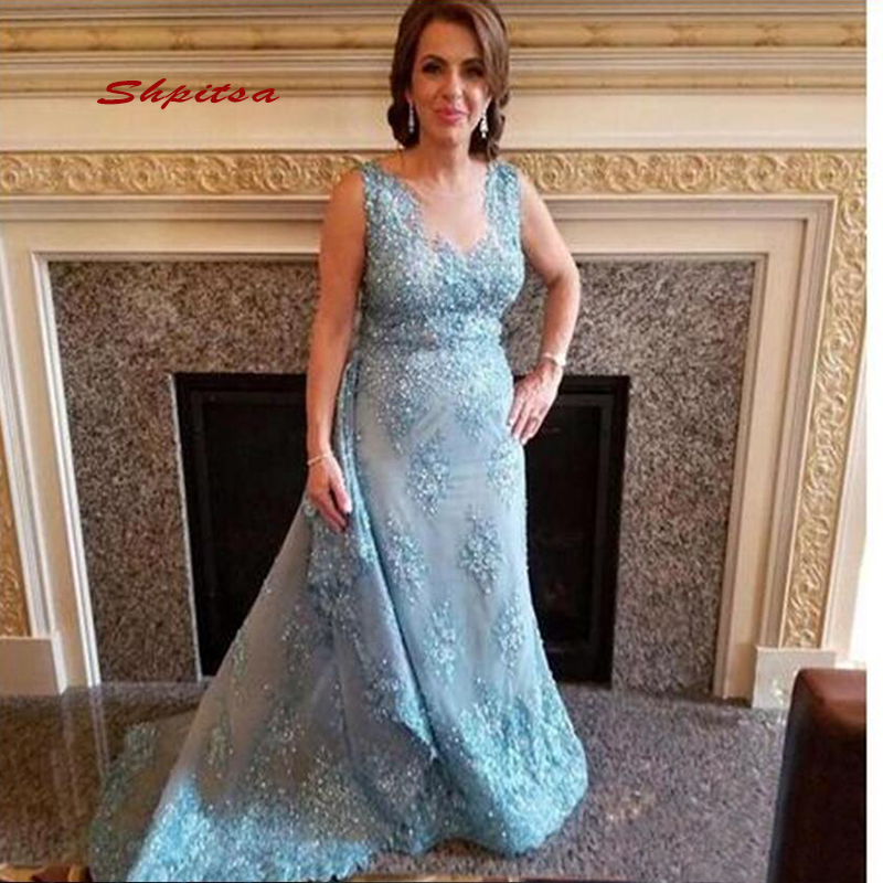 Lace Mother Of The Bride Dresses For Weddings Plus Size Party Light Sky Blue Dinner Evening Godmother Groom Dresses