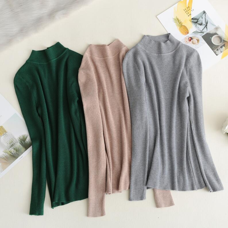 2019 Autumn Winter Women Knitted Sweaters Solid Color Slim Sweaters Korean Pullover Jersey Mujer Pull Femme
