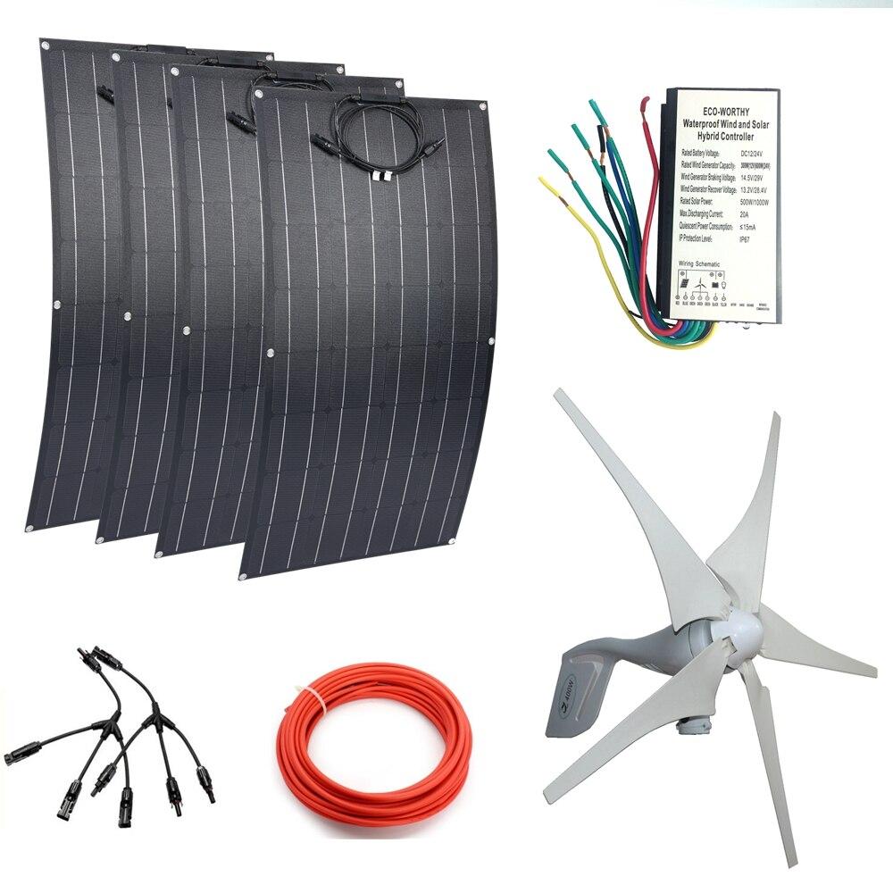 Tüketici Elektroniği'ten Güneş Enerji Sistemleri'de 4 * ETFE 100W Esnek güneş panelleri Modülleri + 400W Rüzgar Jeneratörü Rüzgar hibrit solar kumanda 800w WinSolar Sistemi için Beginne title=