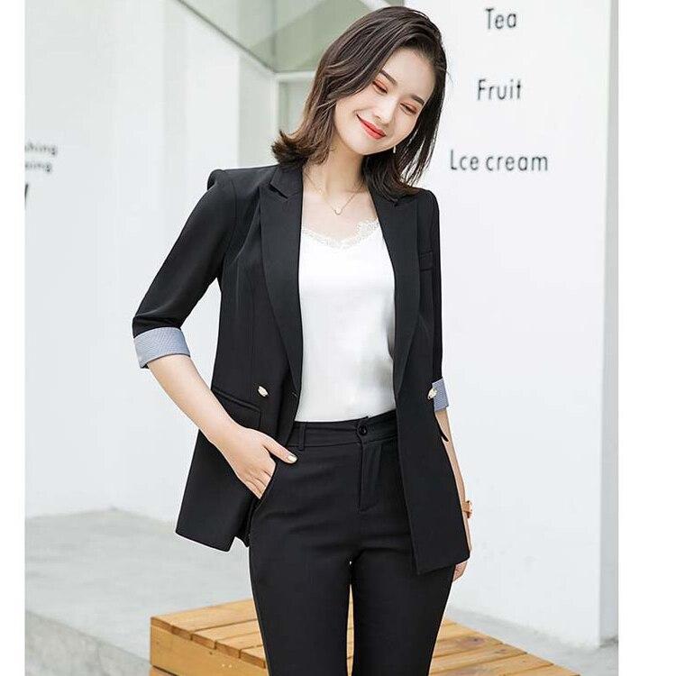2020 Newest Slim Fit Blazer Women Stylish Jacket Women Casual Black Outwear Summer Classic Lady Office Suit Blazer Plus Size