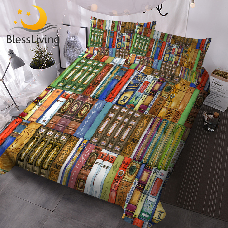 BlessLiving Books Printed Bedding Set Watercolor Duvet Cover With Pillow Cases 3-Piece Colorful Bedspreads Modern Home Bed Cover