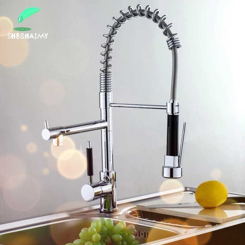 Kitchen Faucet Taps Spray Pull-Out Chrome-Rotatable Dual-Handle Hot-And-Cold-Mixer Single-Hole