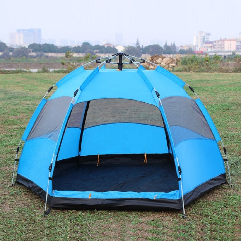 Automatic multi-person double-layer 5-8 people hexagonal tent outdoor hiking camping rain