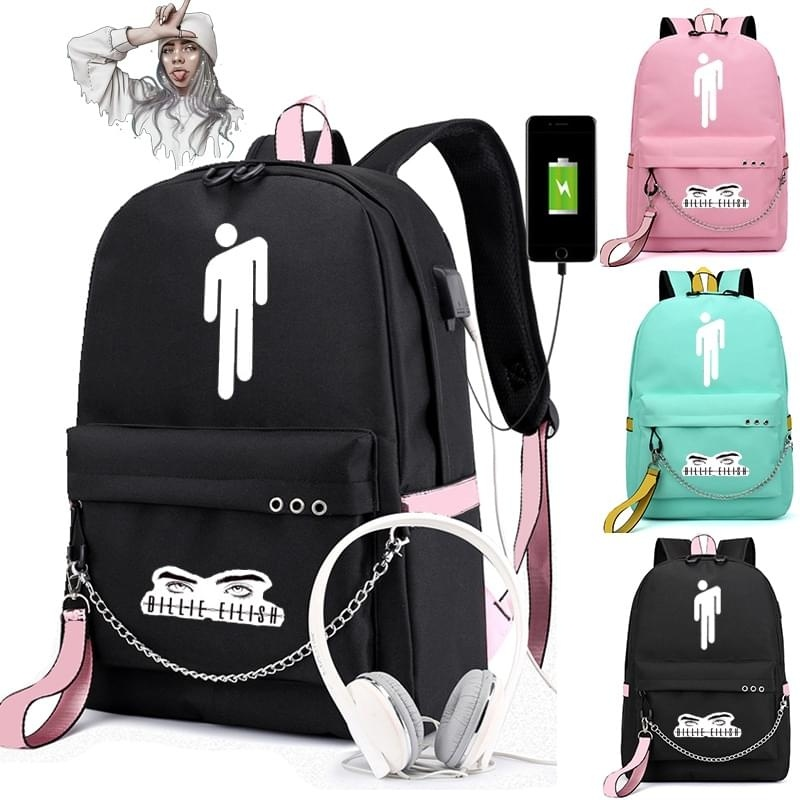 Billie Eilish Canvas Backpack USB Charge Women/Men Student Backpack Letters Print School Bag Teenager Girls Ribbons Backpack