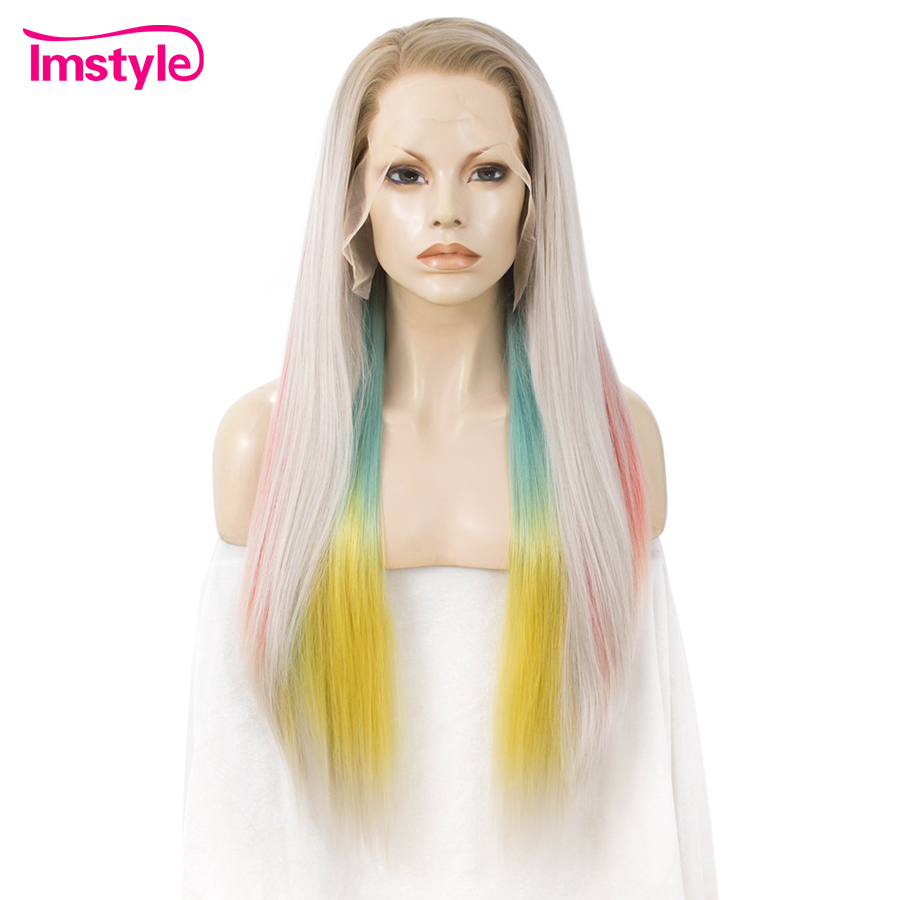 Imstyle Rainbow Multicolor Wig Grey Synthetic Lace Front Wig Straight Long Hair Wig For Women Heat Resistant Fiber 30 Inch