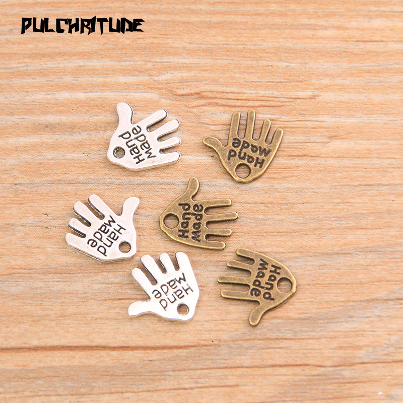 """PULCHRITUDE 60pcs 13*11mm Two Color Letter """"HAND MADE """"Charms Palm Pendants Handmade  Vintage For DIY Jewelry Making Findings 1"""